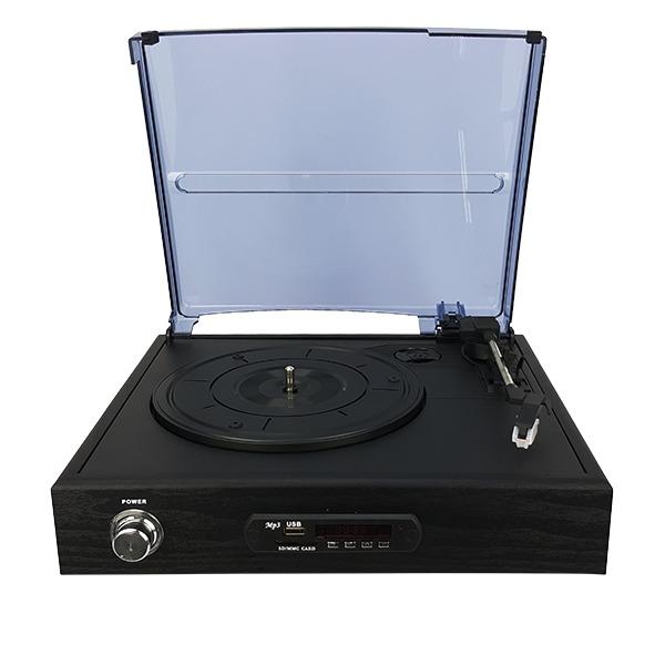 Tornamesa con bocinas integradas, bluetooth, radio FM y lector SD y FM