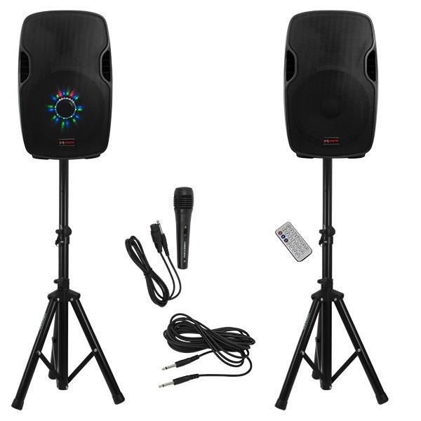 """Kit de altavoces de 15"""" con amplificador, control remoto y reproductor de audio"""