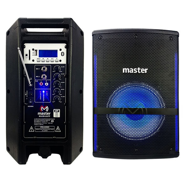 "Bafle amplificado de 8"", bluetooth, FM, luz RGB, lector USB y SD"