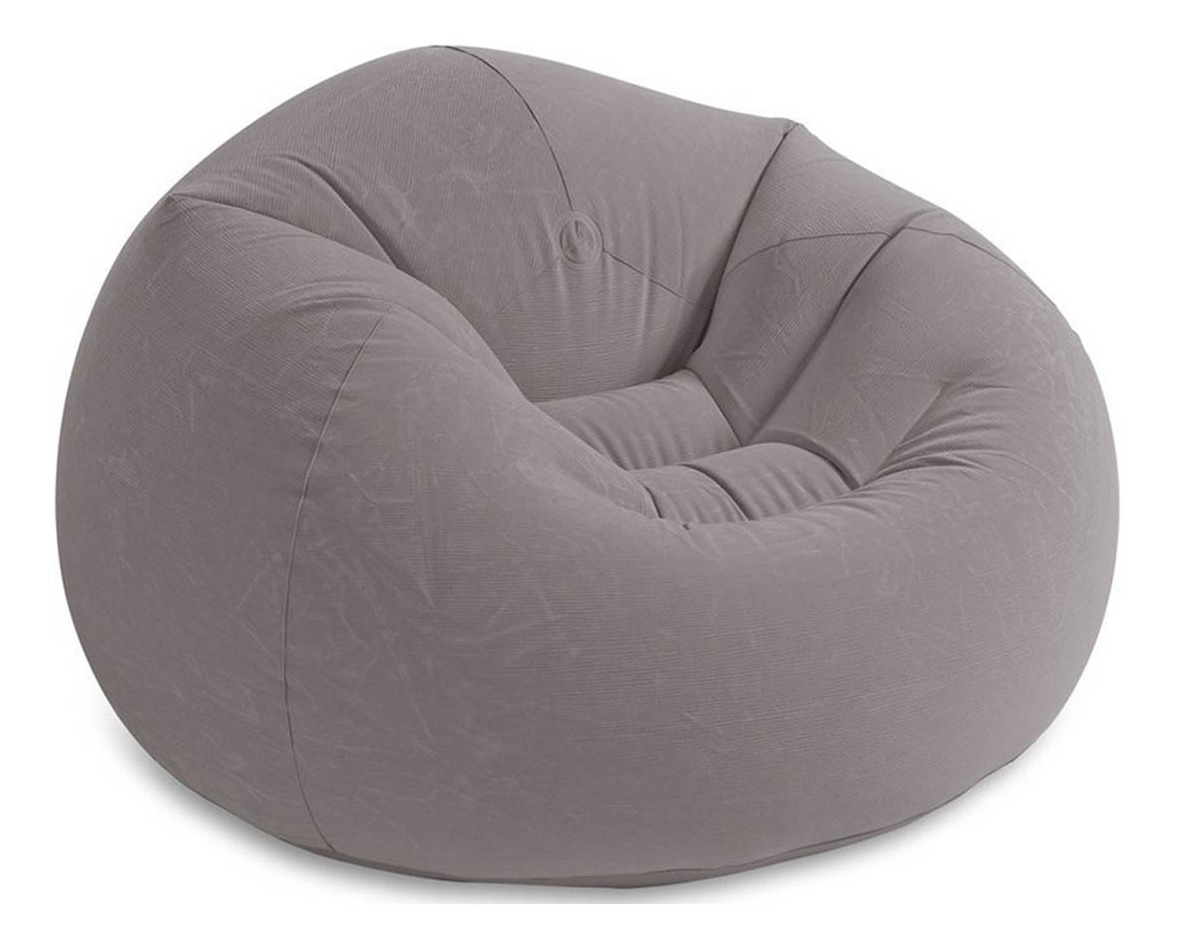 Sillon Inflable Puf Beanless Gris Extra Suave Hogar Intex