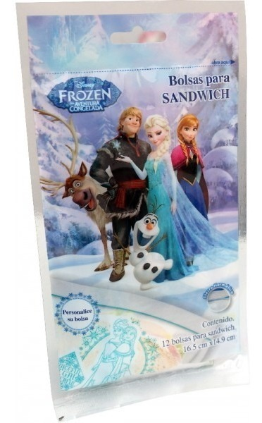 Bolsa Para Sandwich Frozen 16.5 X 14.9 Cm 12 Pzas Disney 820