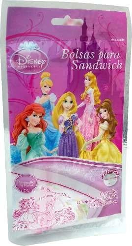 Bolsa Para Sandwich Princesas 16.5 X 14.9 Cm 12 Pzas Disney