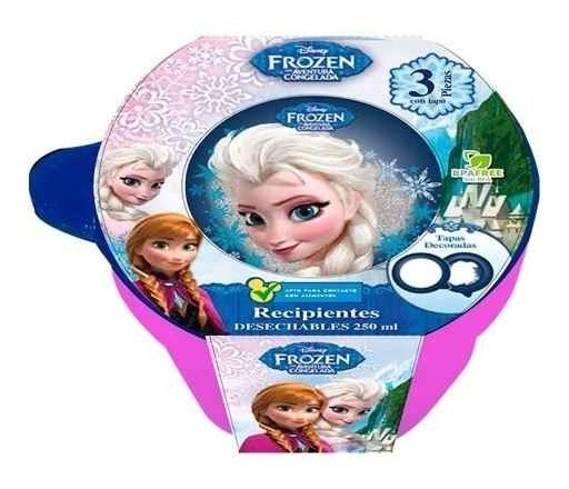 Recipiente Redondo Frozen 250 Ml 3 Pzas Disney 82052 Storeit