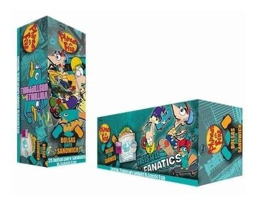 Bolsa Para Sandwich Phineas Y Ferb 16.5 X 14.9 Cm 25 Pzas