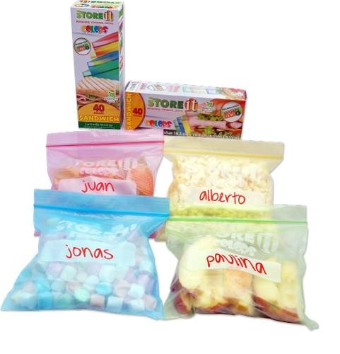 Bolsa Para Sandwich Colors 16.5 X 14.9 Cm 40 Pzas 82010 Stor