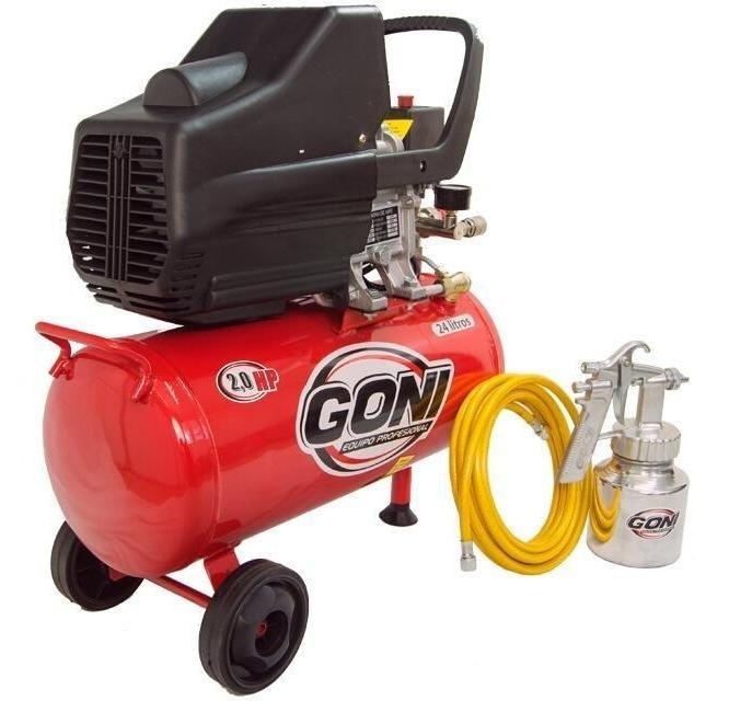 Compresor Aire  24 Litros +manguera + Vaso 930p Goni