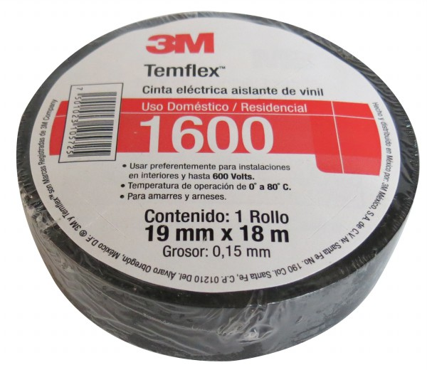 Cinta Aislar Temflex 1600 18 M Negra 3 M 1600 N