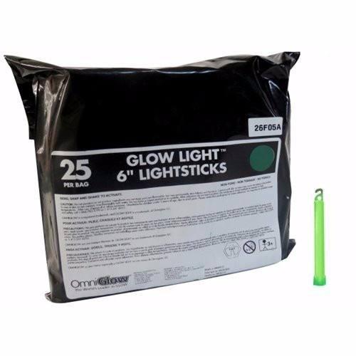 Luz Cyalume Vela 6 Inch Bolsa Con 25 Piezas Verde Omniglow