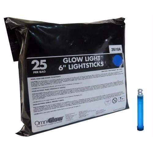 Luz Cyalume Vela 6 Inch Bolsa Con 25 Piezas Azul Omniglow