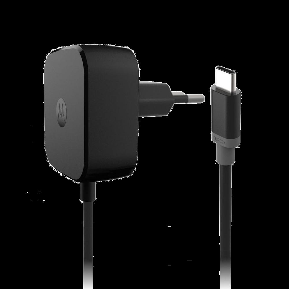 Cargador Turbo Power 15w Con Cable Tipo C Motorola Negro