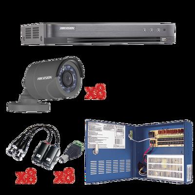 Sistema HIKVISION TURBOHD 1080p / DVR 8 Canales / 8 Cámaras Bala
