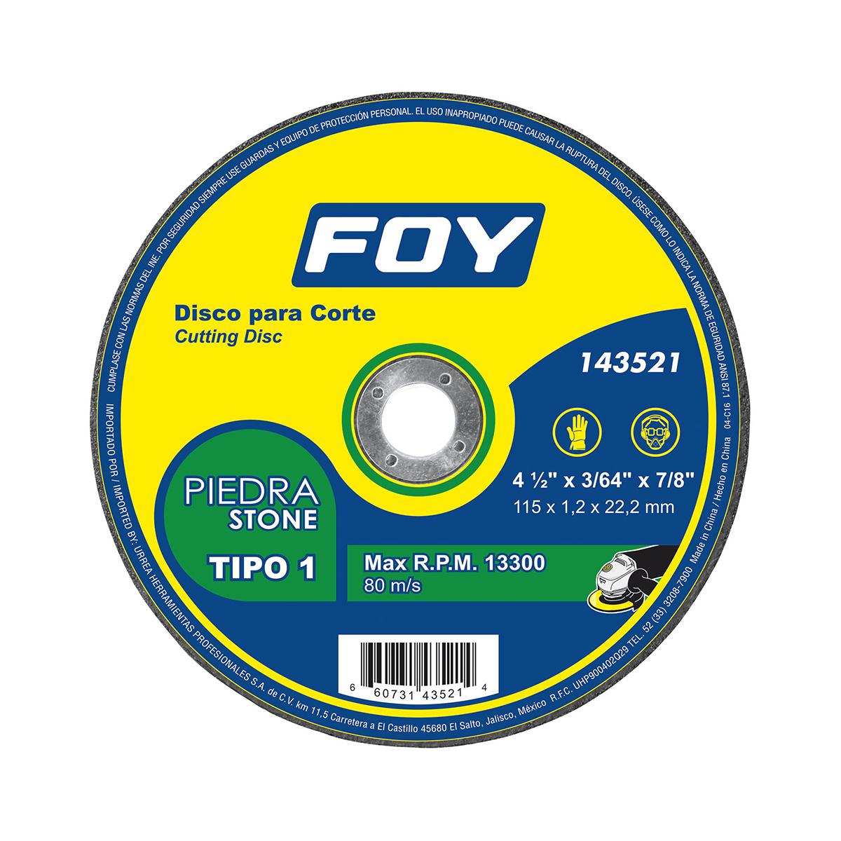 Disco T/1 Piedra 4-1/2 X1.2mm Foy 143521 Foy
