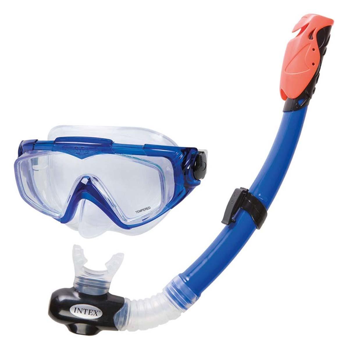 Set Snorkel Tubo + Mascara Buceo Azul Silicone 55962 Intex