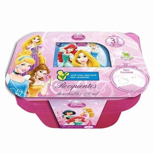 Recipiente Rectangular Princesas 280 Ml 3 Pzas Storeit Disne