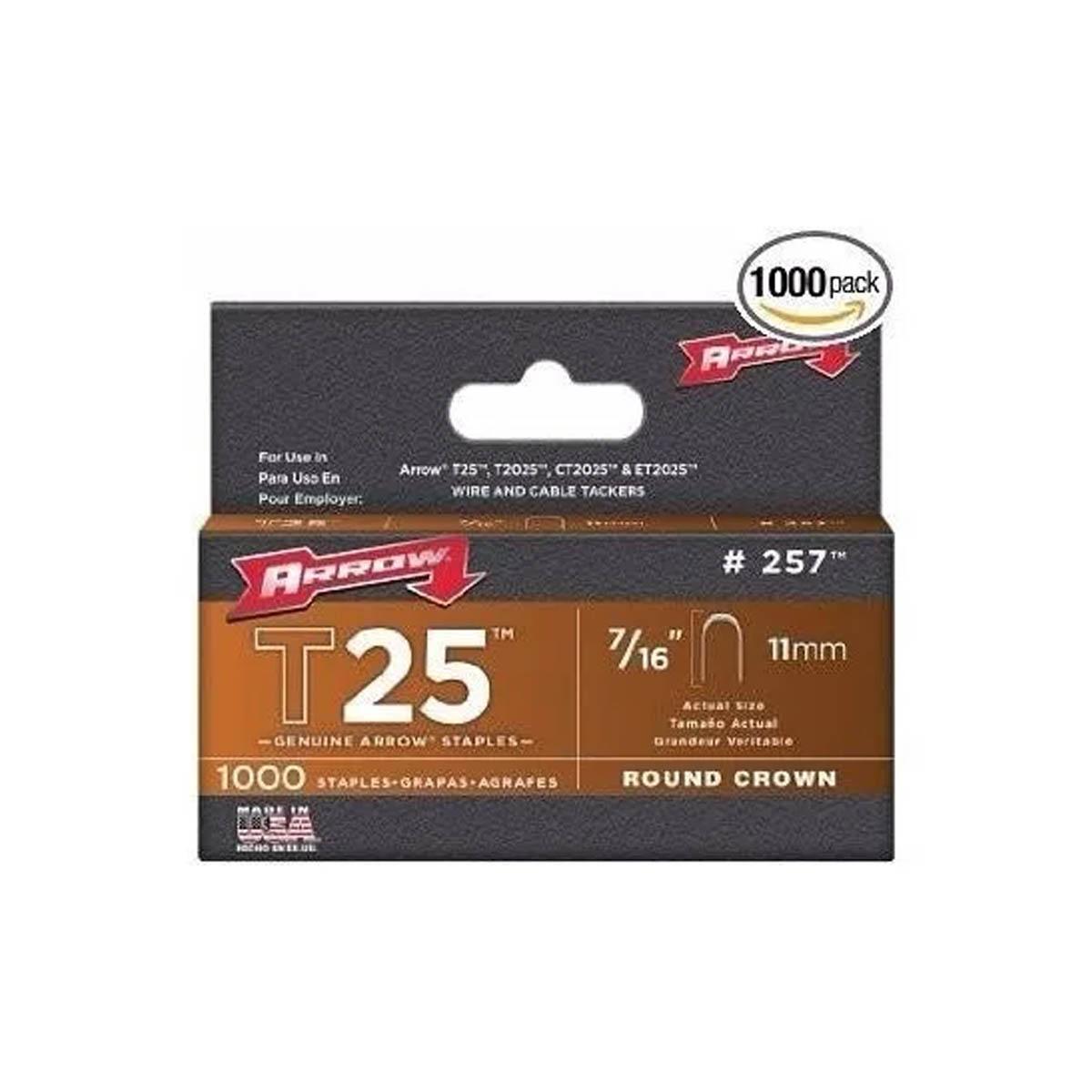 Grapa Para T2025 7/16 Pulgadas Con 1000 Piezas Redonda Arrow