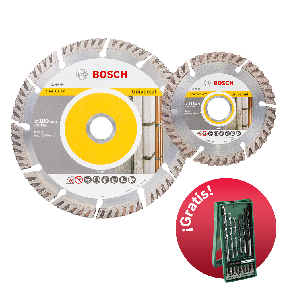 2 Discos Corte Diamante con Set X-line 15 pzs Gratis Bosch