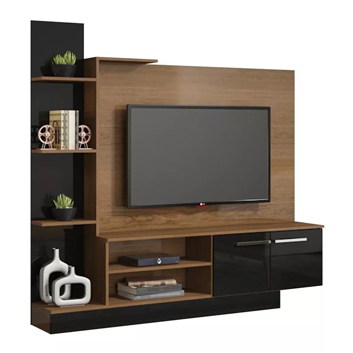 Mueble Modular De TV + Paneles y Repisas Castaño con Negro