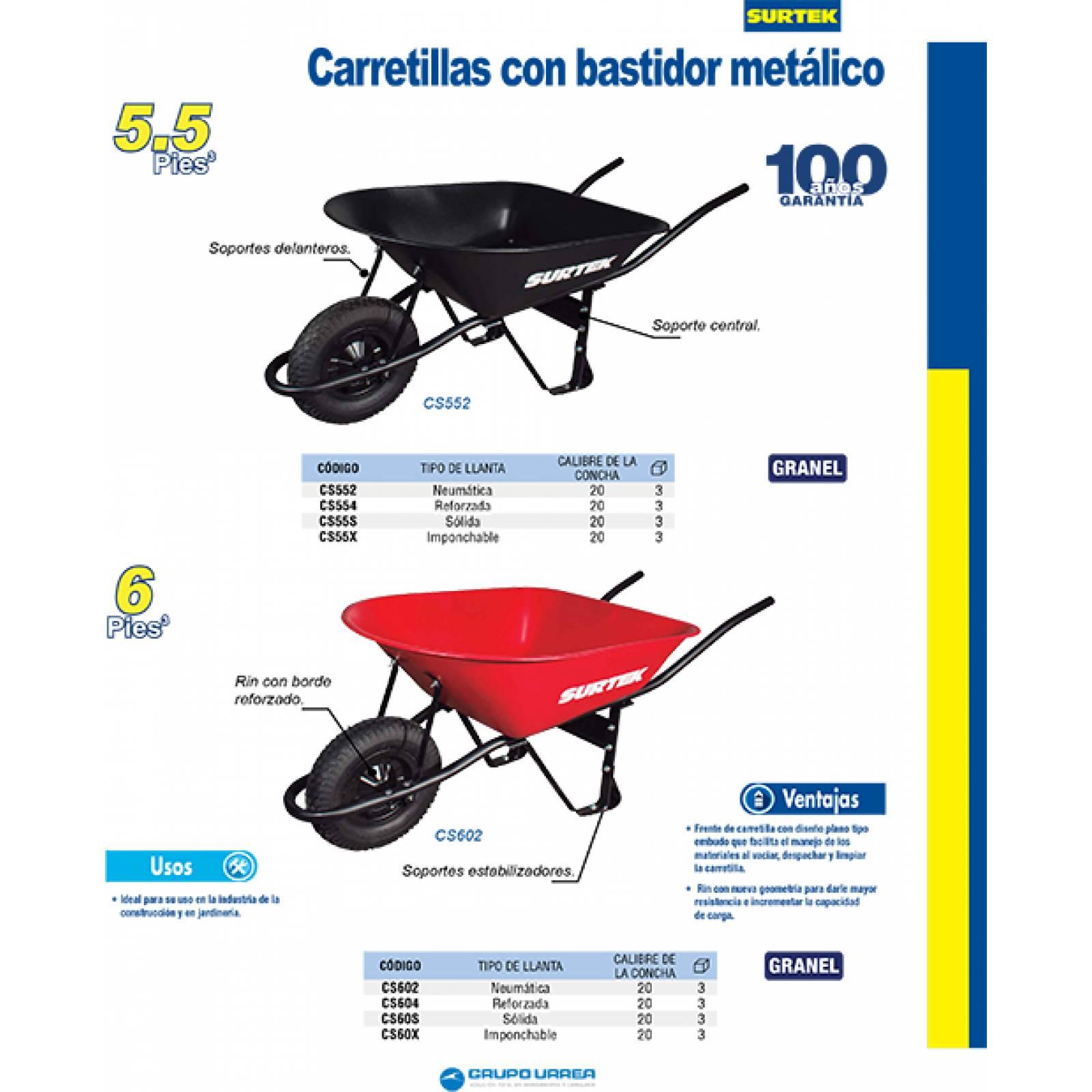 Carretilla Bastidor Metal 6 Ft3 Llanta Sólidada CS60S Surtek