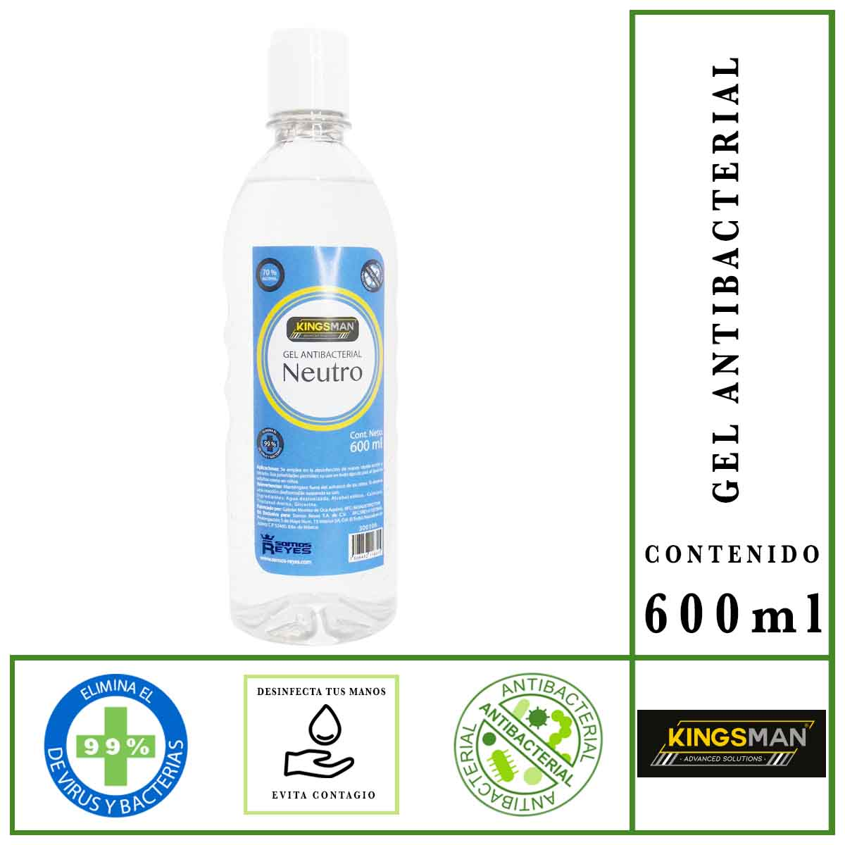 Gel Antibacterial Desinfectante De Manos 600 ml 70% Alcohol