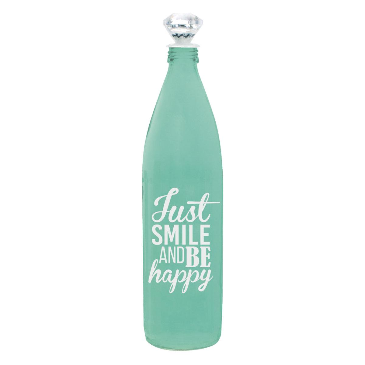 Botella Vidrio Decorativo Tono Aqua Agua Crown Baccara