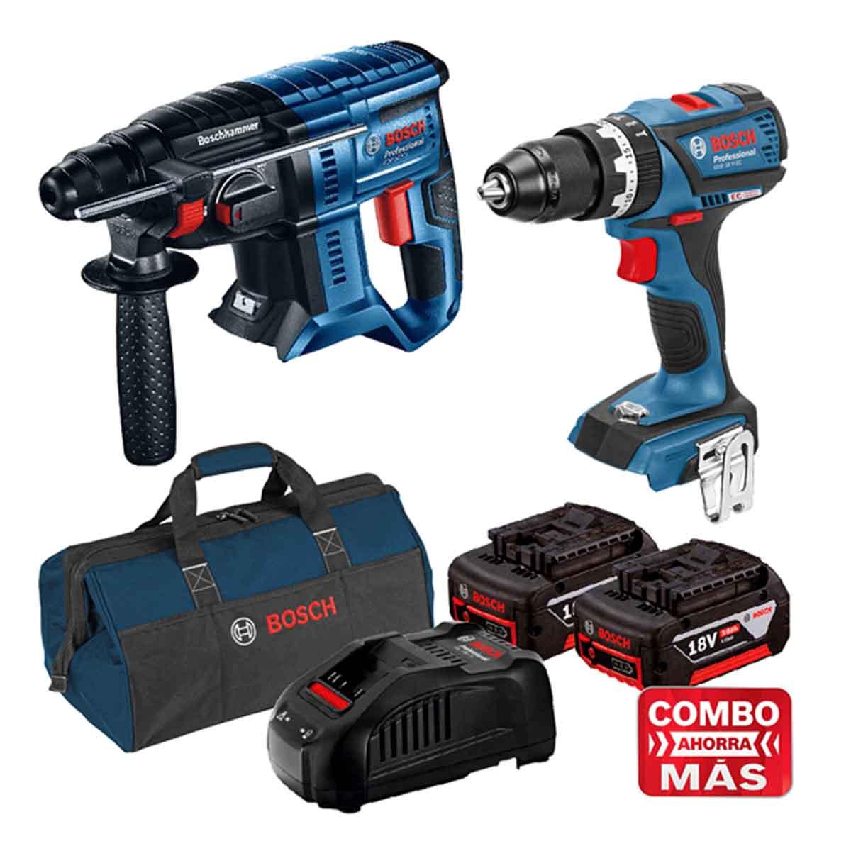 Martillo 18V + Taladro + 2 Baterias Cargador + Maleta Bosch