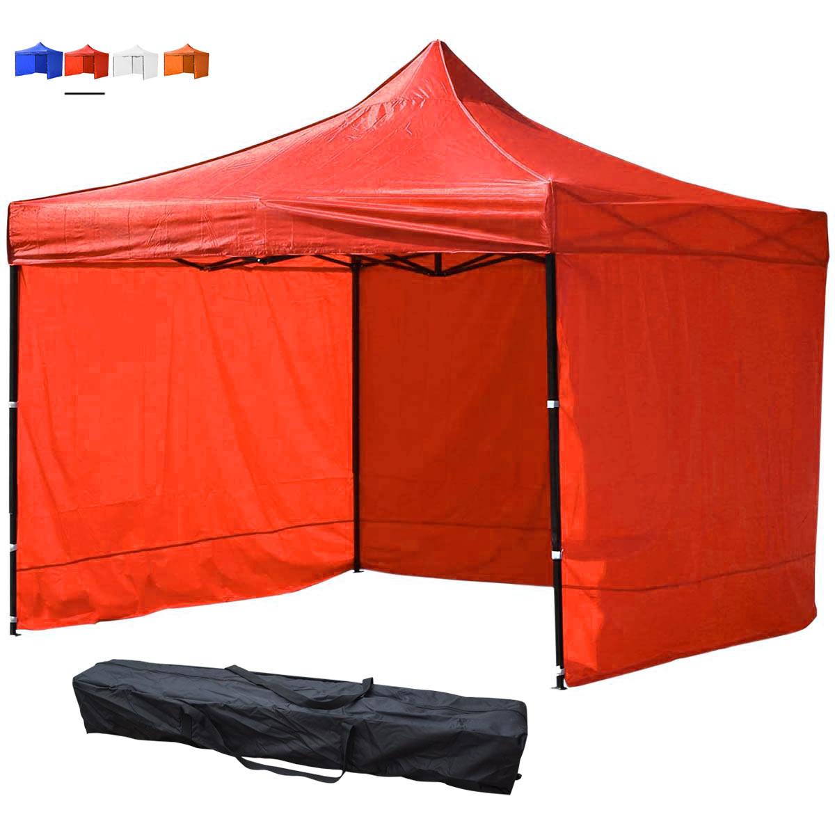Toldo Carpa Plegable Impermeable Rojo 3x3 m + Pared + Bolsa