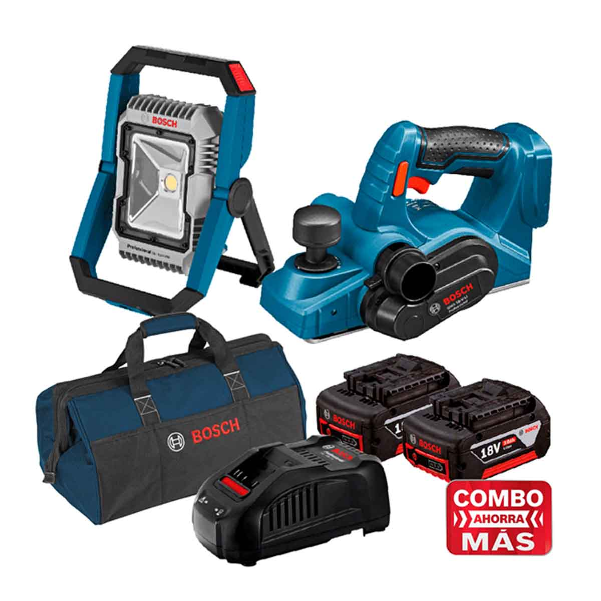 Cepillo 18V + Linterna + 2 Baterias Cargador + Maleta Bosch
