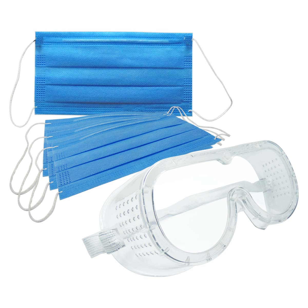 Cubrebocas Mascarilla 10 Pzs + Gafas Monogoogles Seguridad