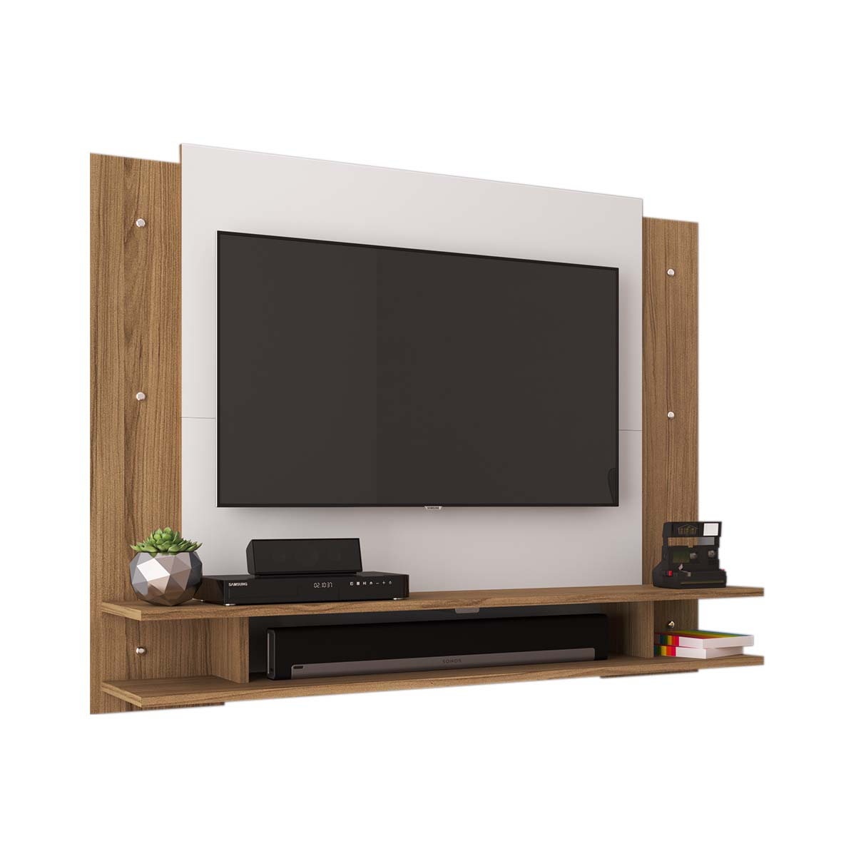 Mueble Modular TV Con Paneles + Repisas Natural con Blanco