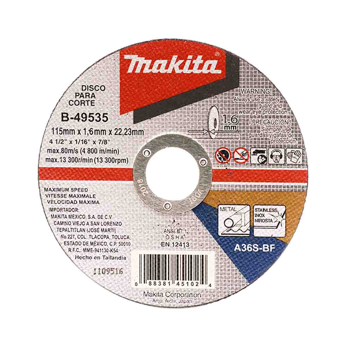Disco Abrasivo Corte Metal 4 1/2 X 1.6 Mm Plano 4 Makita