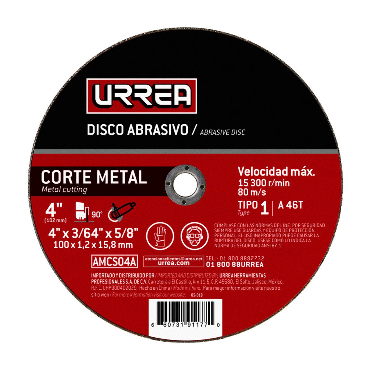 """Disco Abrasivo 4"""" 4000 Rpm- 15 300 Rpm Tipo: 1 AMCS04A Urrea"""