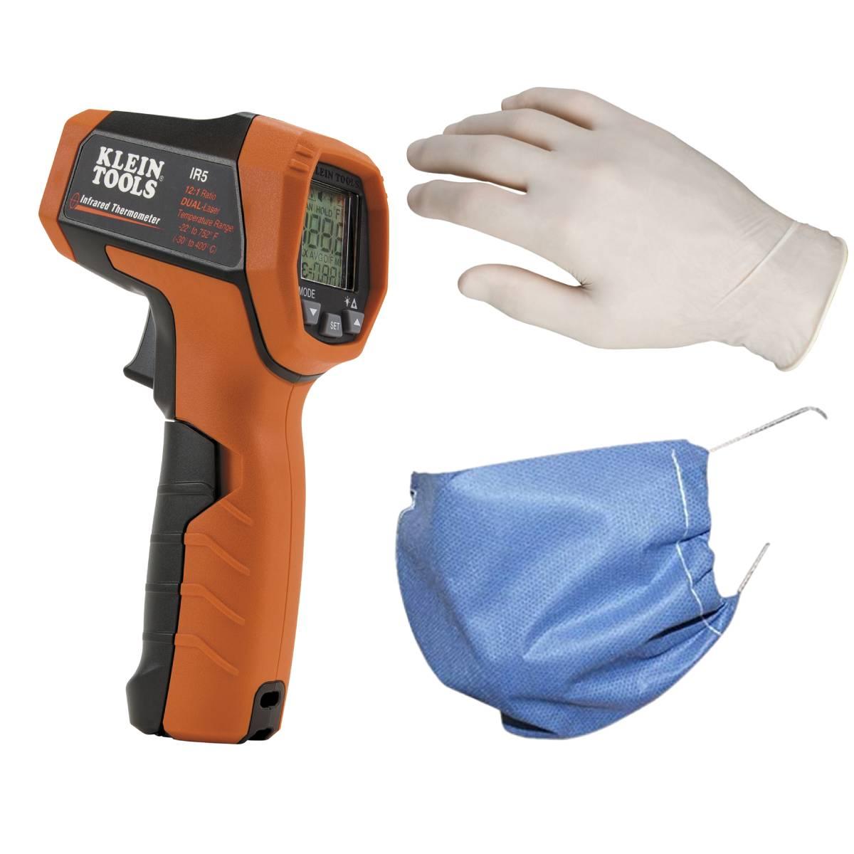 Cubrebocas 5pz+ Guantes 1pz+ Pistola Termometro Humano Klein