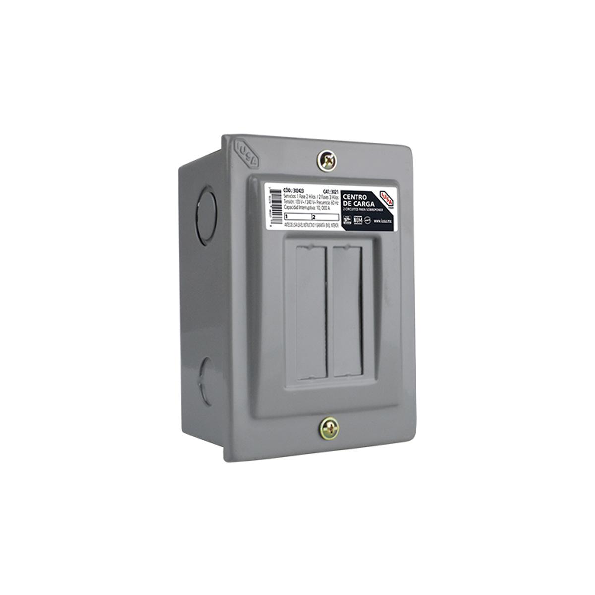 Centro Carga 2 Circuitos Sobreponer Electricista 217942 Iusa
