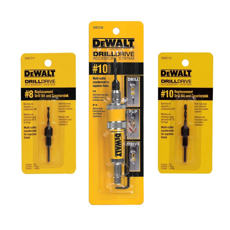 Kit Adaptador Reversible 10 + Broca Avellanador 8 y 10 DeWalt
