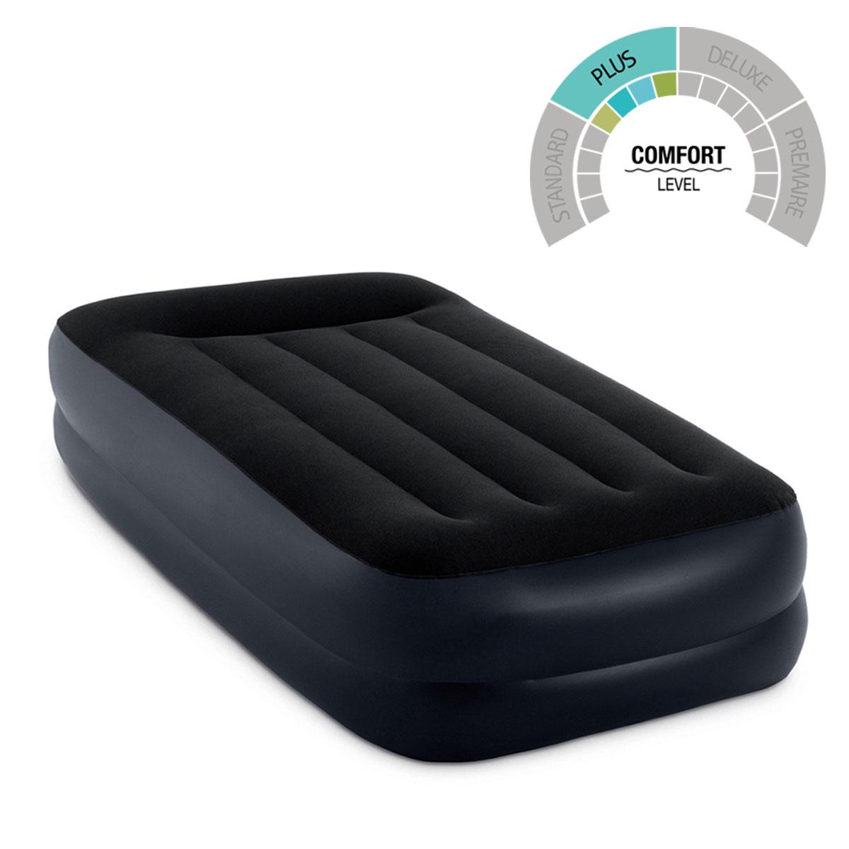 Colchon Negro Inflable Doble Altura + Bomba 64121EP Intex