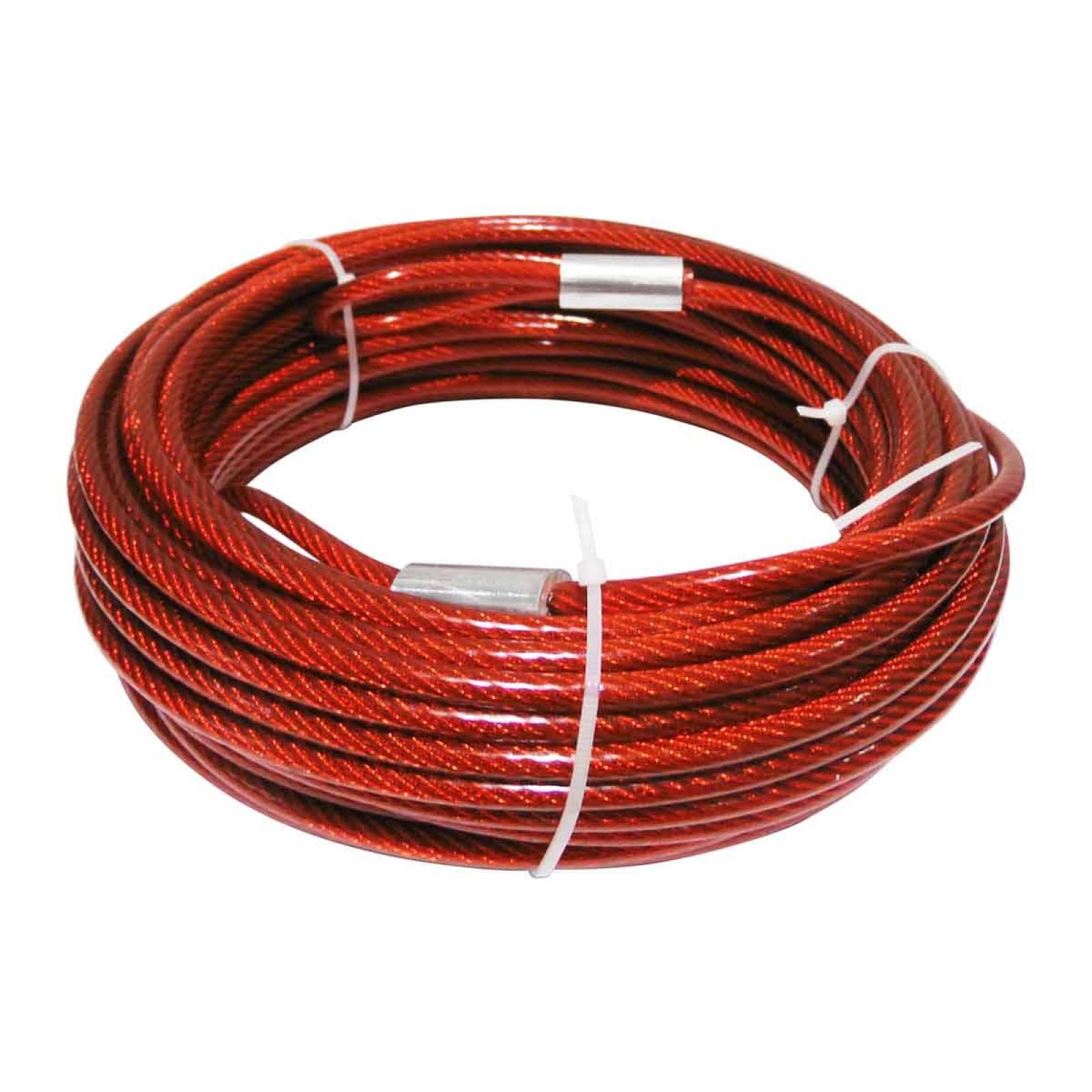 """Cable De Acero Con Pvc Blister 7X7 1/8-3/16"""" 15 M Rojo OBI"""