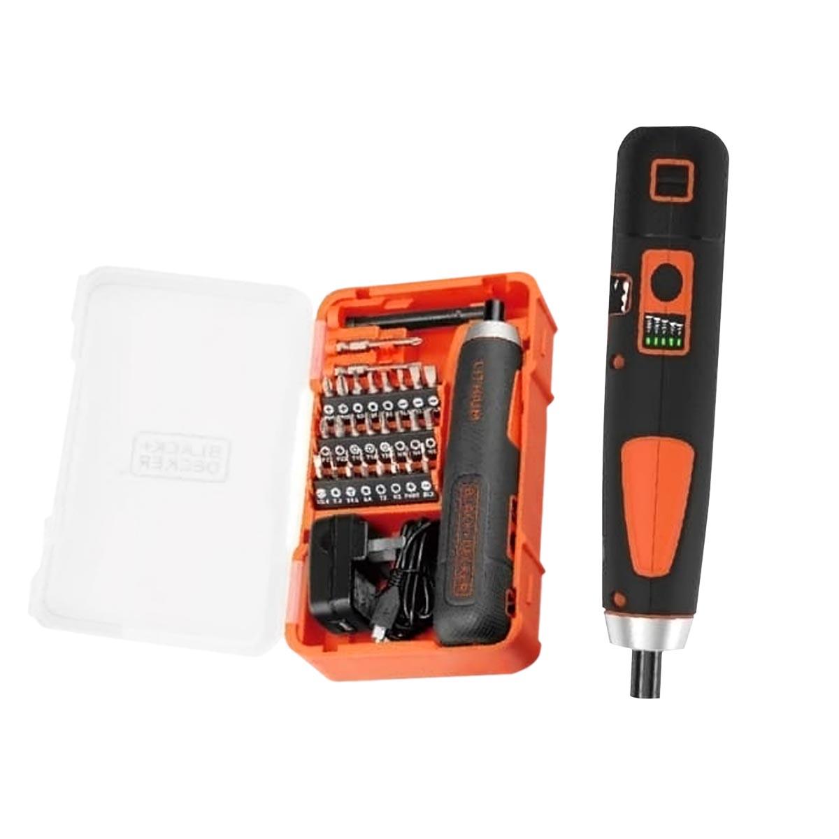 Set Atornillador Inalambrico 4V Push And Go + 27 Accesorios BD40K27 Black And Decker