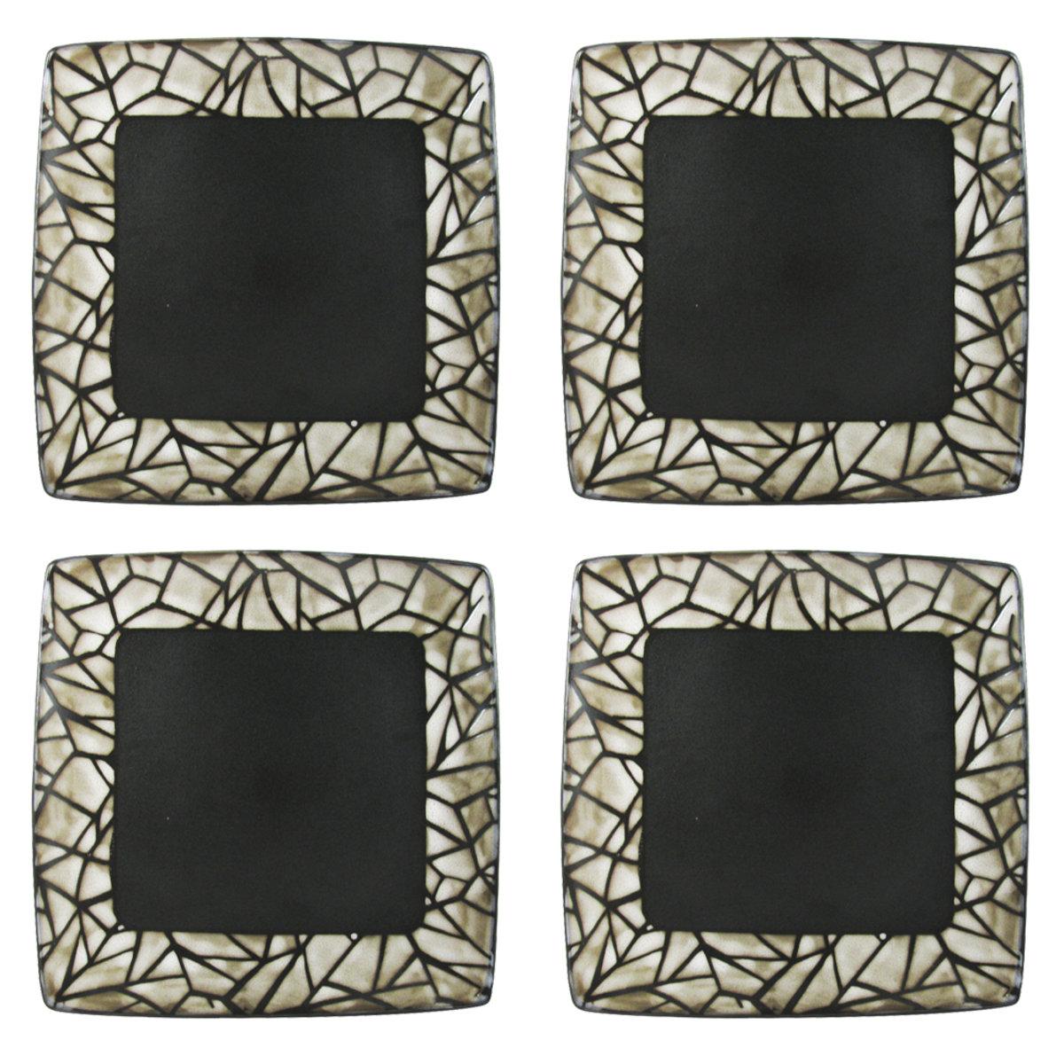 Set Platos Mesa Trinche Ceramica 4 Pz Crown Baccara