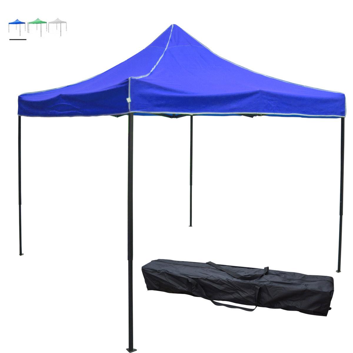 Toldo Carpa Plegable Lona Azul 2x2 M + Bolsa Transportadora