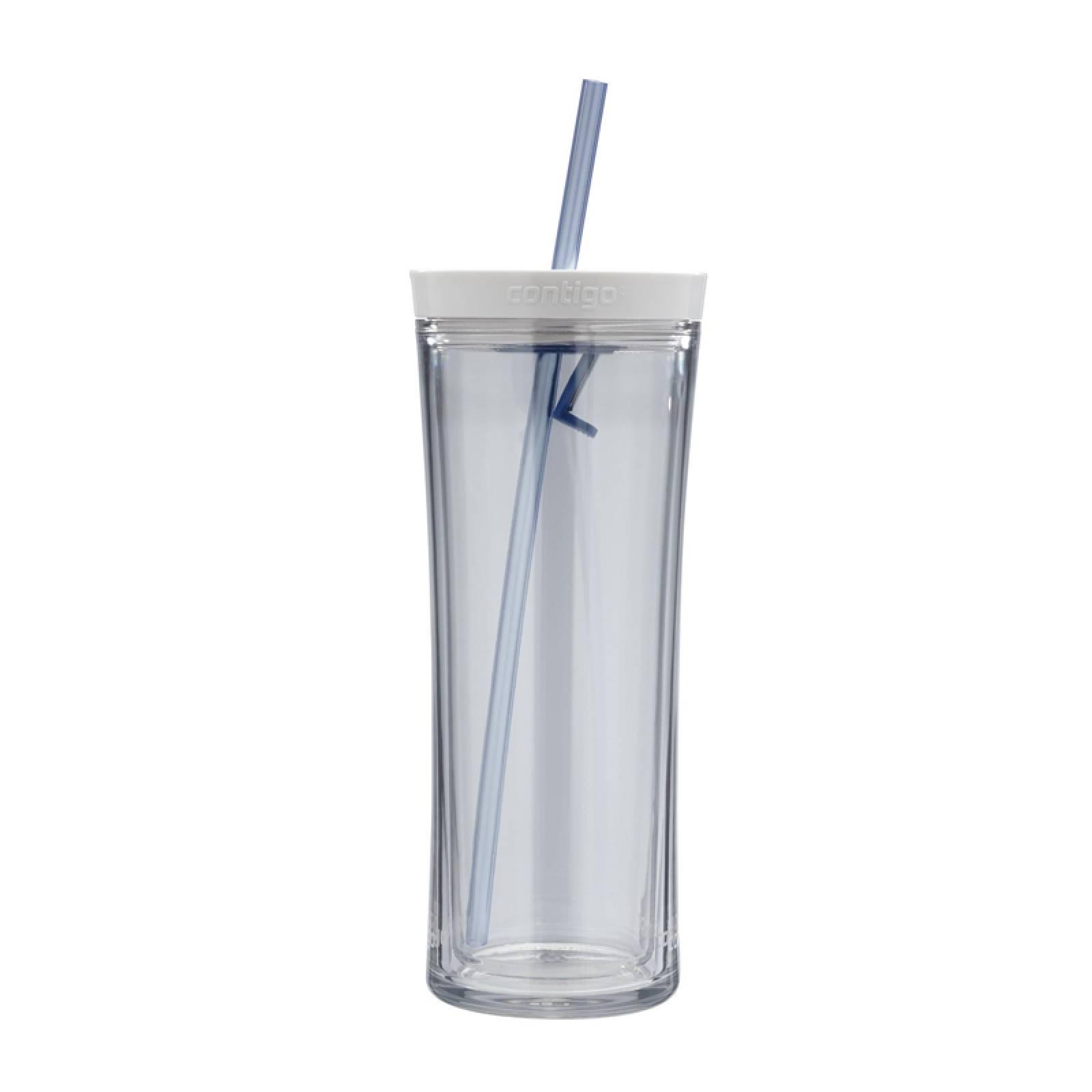 Vaso Shake Go Azul 20 Oz Doble Pared Con Popote Contigo