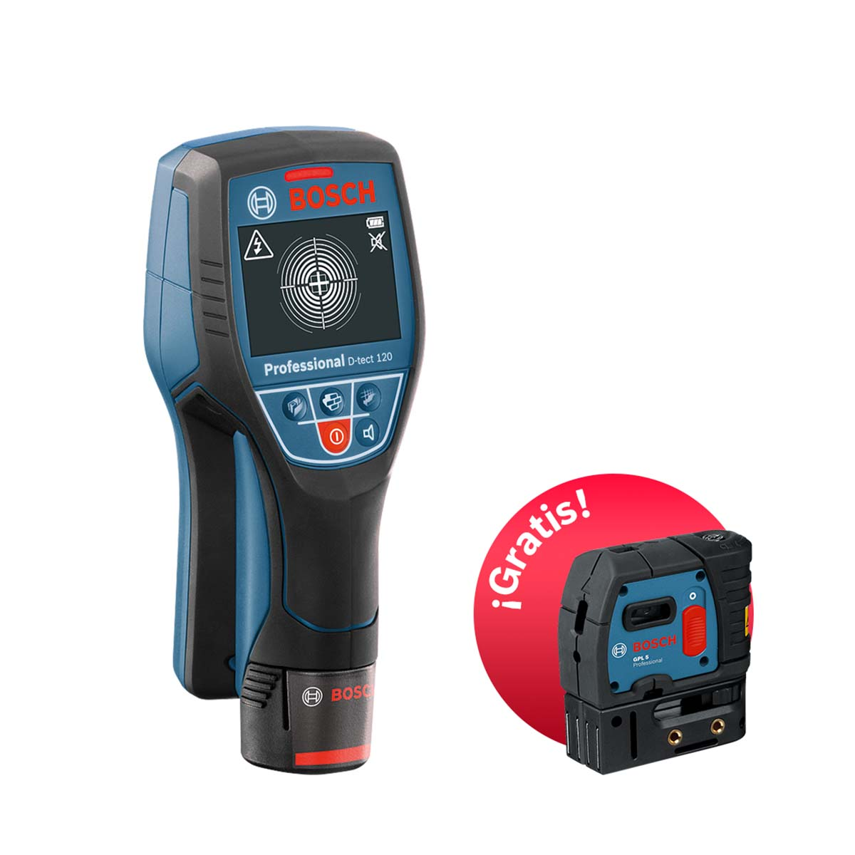 Detector de pared D-tect 120 + Laser de Puntos Gratis Bosch