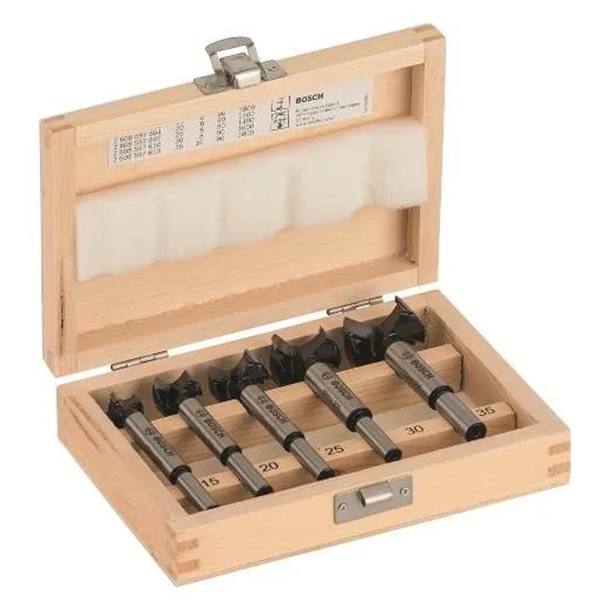 Set Brocas Forstner Bisagra 5 Pzas 15 A 35 MM Madera Bosch