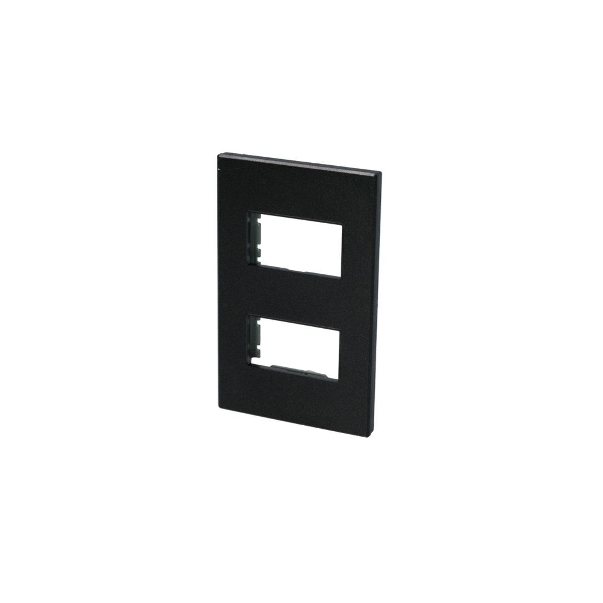 Placa para Apagador 2 Módulos Negro 1/2 P602N Surtek