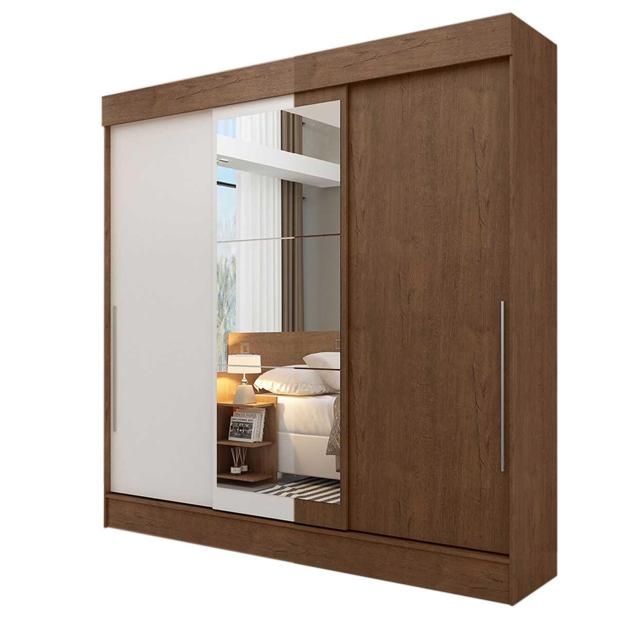 Ropero Closet 3 Puertas Corredizas Doble Vista 2Cajones Casa