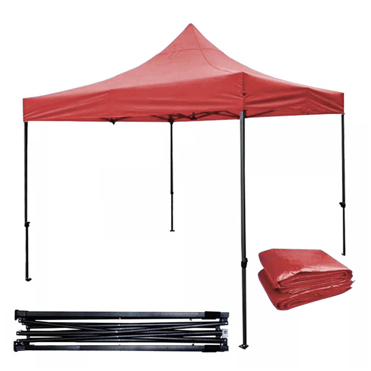 Toldo Carpa Impermeable Plegable De Acero 3X3M Rojo Kingsman