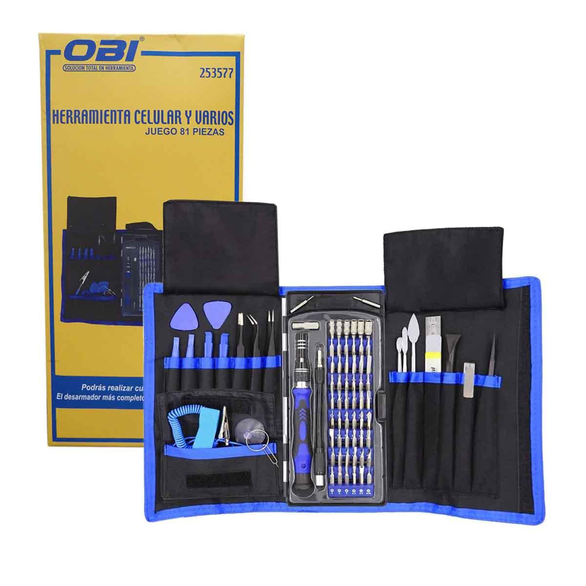 Kit Desarmador Herramienta Reparacion Celular 81 en 1 OBI