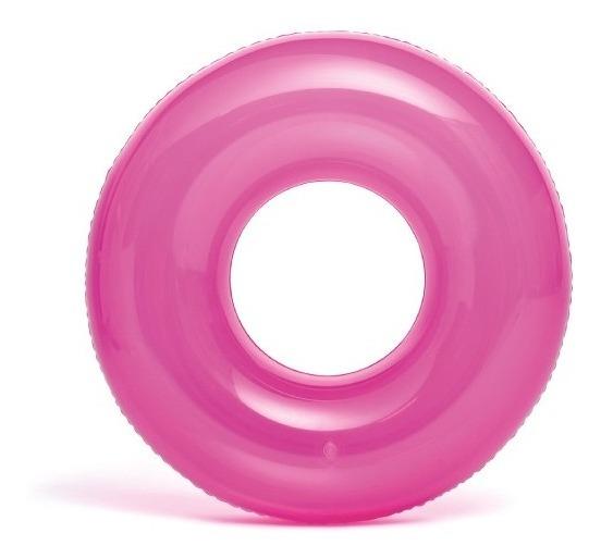 Salvavidas Inflable Rosa Transparente 76cm Para 8 Años Intex