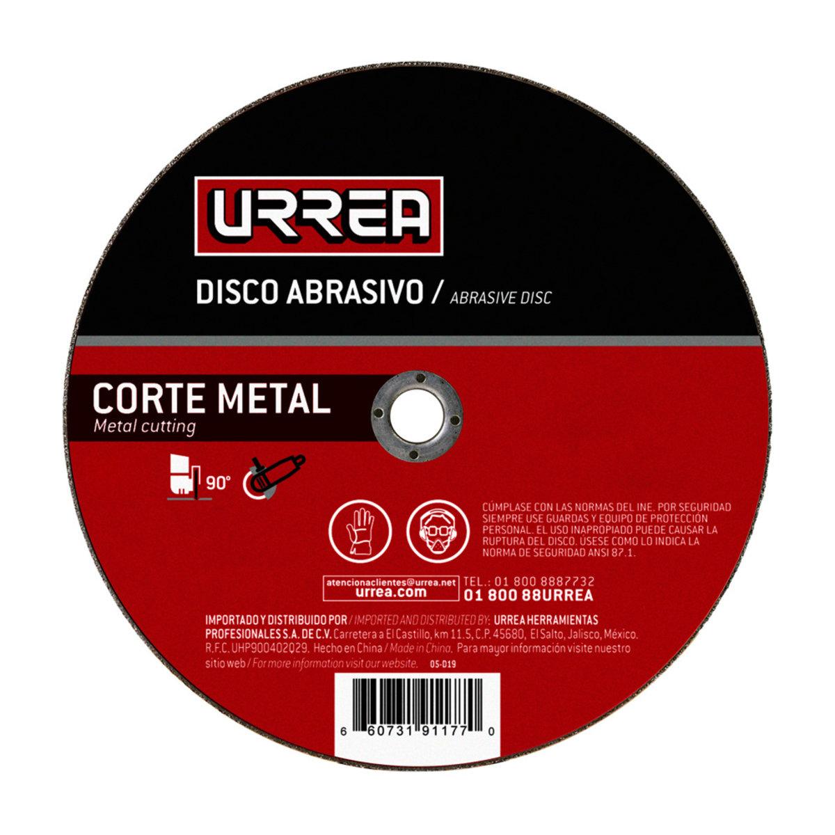 """Disco Abrasivo De 4-1/2"""" 4000 Rpm- 13 300 Rpm Tipo: 1 Urrea"""