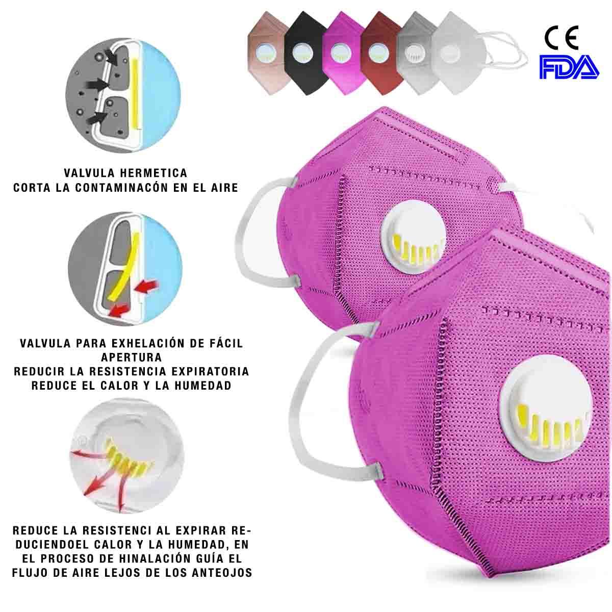 Mascarilla Cubrebocas Kn95 N95 Valvula Filtro 2Pz Rosa Bolsa