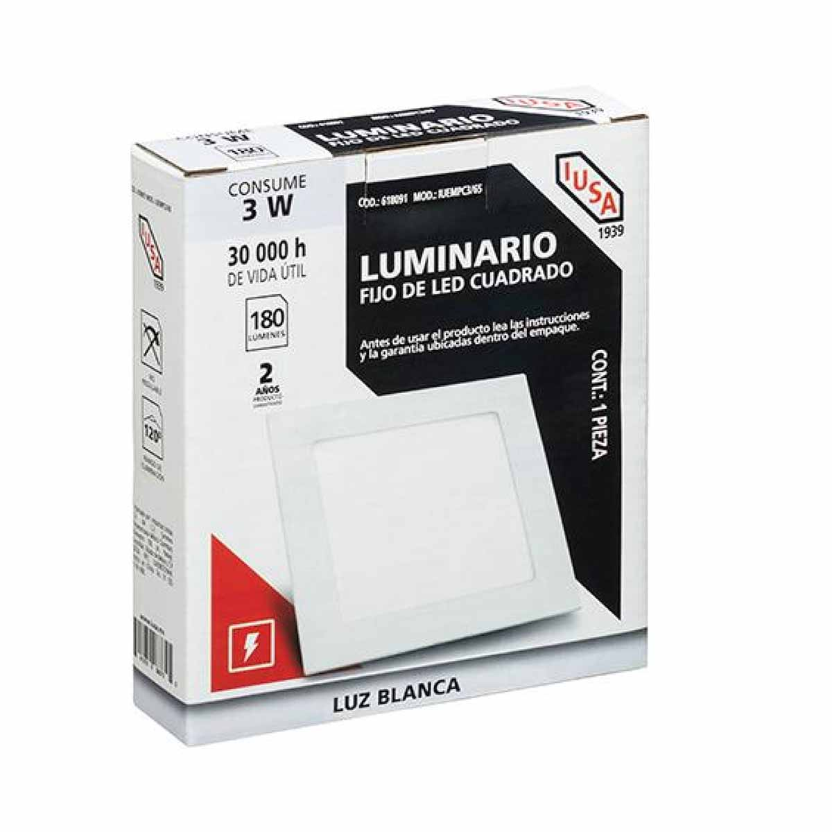 Foco Luminario Led Cuadrado Fijo Luz Blanca 3 W 618091 Iusa